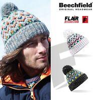 Beechfield Blizzard Bobble Beanie-Warm Winter Woolly Hat Pom Pom