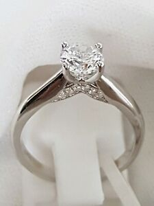 925 STERLING SILVER RHODIUM PLATED SOLITAIRE ENGAGEMENT RING 5 6 7 8