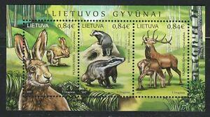 Lithuania 2017 MNH sheet of 3 stamps Deer,Hare & European Badger.WWF ***