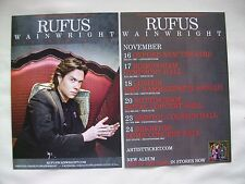 "RUFUS WAINWRIGHT Live ""Out of the Game"" 2012 UK Tour. Promo card flyers x 2"
