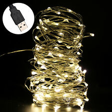 10M/33FT LED Silver Wire Cluster Lights Chain String Holiday Xmas Wedding Party