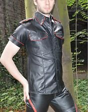 New Leather shirt with piping,police style Gay leather shirt,Biker lederhemd