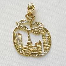 14k Yellow Gold NEW YORK CITY BIG APPLE Pendant / Charm, Made in USA