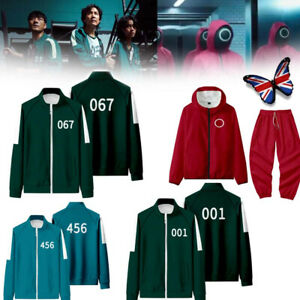 Squid Game Jacket Trousers Outfit Fancy Dress Cosplay Costume Tracksuit Set UK