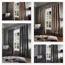 Catherine Lansfield Luxury Crushed Velvet Curtains Eyelet Natural or Silver