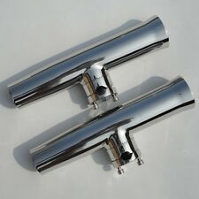 2X Tournament Style Stainless Steel Clamp On Fish Rod Holder Liner 7/8''--1''
