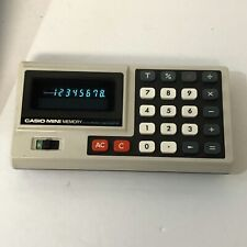 Vintage Casio Mini Memory Calculator w/Case - Made in Japan - AD-4145 Works