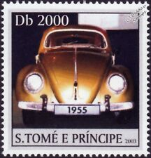 VOLKSWAGEN VW Beetle Käfer Car Stamp #3 Gold (2003 St Thomas & Prince Islands)