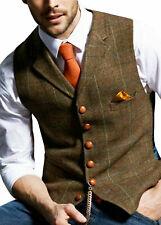 Hot Mens Lapel Tweed Waistcoat Retro Sleeveless Jacket Vests Wool Blend Slim Fit