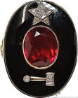 Massive Flame Fusion Ruby & Onyx 14k Gold Chairman Of The Board Womens Ring
