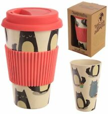 BAMBOO ECO FRIENDLY BIO DEGRADABLE CUTE CAT DESIGN TRAVEL CUP MUG NEW & BOXED