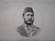 Gravure 1882 - Mehemed Tewfik Khédive d'égypte
