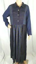 Citron Santa Monica Blue Long Sleeve Patchwork Mixed Block Maxi Dress L FLAW