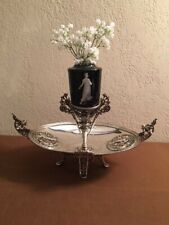 New listing Antique Rare Silver Plate Ornate Centerpiece with Mary Gregory Vase