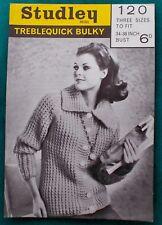 """Lovely Ladies Chunky Yarn Raglan Cardigan Vintage 1960s Knitting Pattern 34""""-38"""""""