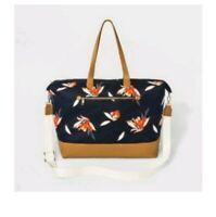 Canvas Weekender Bag Tote Navy Blue Floral Adjustable Detachable Crossbody Strap