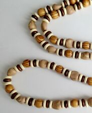 """ETHNIC INSPIRED: MENS TRIBAL SURFER LONG 30"""" CREAM BROWN CLAY & WOOD NECKLACE"""