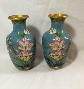 Vintage Pair of Chinese Enamel Cloisonne vases H16cm 2PCS