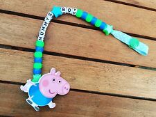 Boys Blue Dummy Clip Dummy Chain peppa pig george dummy clip pacifier holders