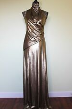 Catherine Malandrino Stretch Gunmetal Metallic Jersey Long Maxi Dress Size 4