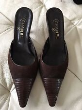 Women's CHANEL Chocolate Brown Classic Designer Shoes Size 40.5 Made In France
