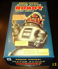 PISTON ACTION TIN BATTERY OP SPACE ROBOT GOLD BODY BLUE LEGS BLACK HANDS MIB