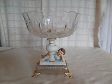 Vintage etched crystal center piece bowl compote Capodimonte  cherub Italy