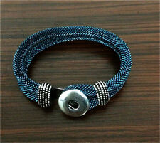 DIY Handmade Leather Bracelets Drill Fit For Noosa Snaps Chunk Charm Button Q19