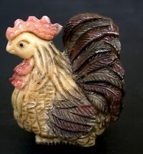 Japanese ivory colored bone  netsuke - A Proud Rooster/Hen/chicken?