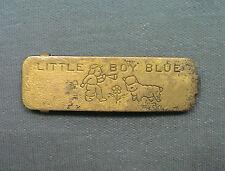 Vintage Little Boy Blue Brass Barrette Blowing HORN Flower SHEEP