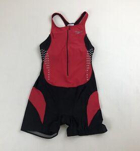 Womens Speedo Sz L Red/Blk Sleeveless Triathlon Cycling Race Bib Jersey Skinsuit