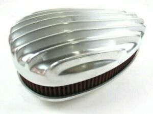 Single Carb Fat Finned Tear Drop Air Cleaner W/ element Polished 4 Barrel