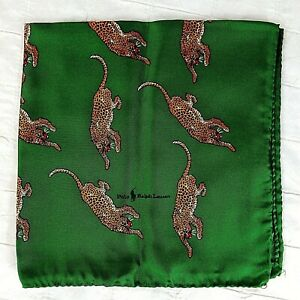 70s Vintage Polo Ralph Lauren Pocket Square Scarf 100% Silk Italy Green LEOPARD