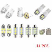 14Pcs Car White LED Interior Kit For T10&31mm Map Dome License Plate Lights Set