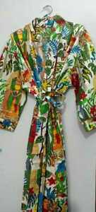Frida Kahlo Long Cotton Kimono Handmade Cover Up Bath Robes Night Dressing Gown