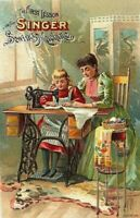 Set of TWO Vintage Singer Ad Sewing Ephemera - 4x6 Craft & Quilt Cotton Fabrics