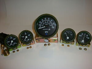 12V Willys Jeep M38 1952 Gauges Kit with Speedometer - Olive Green Bezel