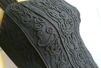 vintage BUSTIER Corset noir Caraco dentelle Cornely Victorien 80's muse XS 34/36