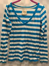 Hollister V-Neck Blue White Striped Long Sleeve Shirt Top Women's Size M