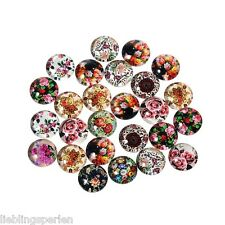 50 Blumen Glascabochons Perlen zum Kleben Glaskuppel Klebstein 10mm LP