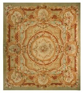 Magnificent Antique Rug French Aubusson Rug Napoleon III Green 17x17.5 C.1870