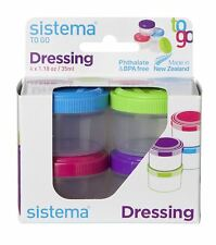 4 Sistema Drressing Pots To Go Containers 35ml Food Lunch Dinner Picnic Sauce