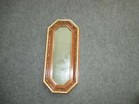 "Vintage Home Interiors Octagon Mirror w Burl finish & Gold Trim 18 1/2"" x 8 1/2"""