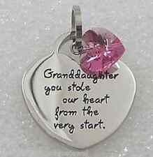 Granddaughter Stole Our Heart Necklace Stainless Steel Silver Crystal