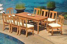 "9pc Grade-A Teak Dining Set 71"" Rectangle Table 8 Osborne Armless Chair Outdoor"