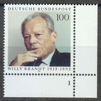Germany 1993 MNH Mi 1706 Sc 1819 Willy Brandt.German politician ** Plate number
