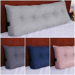 COTTON SOFT WEDGE LUMBAR PILLOW BACK REST SUPPORT HEADBOARD CUSHION BED READING