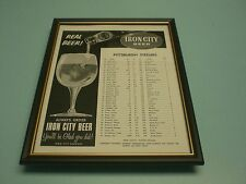 1956 STEELERS ROSTER IRON CITY BEER FRAMED AD PRINT