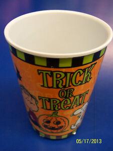 Peanuts Charlie Brown Snoopy Linus Halloween Party Melamine Tumbler Cup - Orange