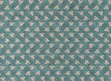 Fat Quarter Around Town Dark Teal Floral Cotton Quilting Fabric Red Rooster